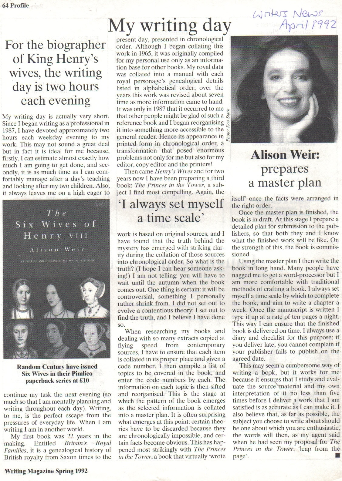 My Writing Day By Alison Weir Writing Magazine, Spring 1992